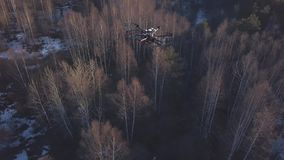 Close-up of black quadrocopter flying above the trees and little patches of land in snow shooting the video of forest stock video footage
