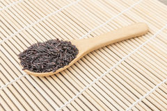 Close up Black rice berry on wooden spoon Royalty Free Stock Photos