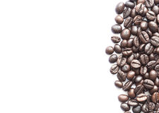 Close up black roasted coffee bean isolated on white Royalty Free Stock Photos