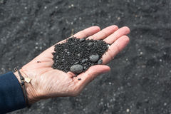 Close up of black sand, Hawaii Royalty Free Stock Images