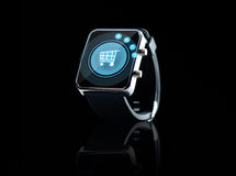 Close up of black smart watch Royalty Free Stock Photography