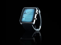 Close up of black smart watch Stock Images