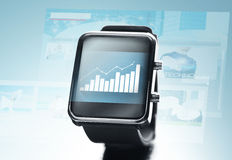 Close up of black smart watch Stock Photography