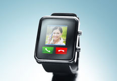 Close up of black smart watch with video call icon Stock Photo