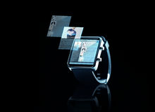 Close up of black smart watch with web page Stock Image