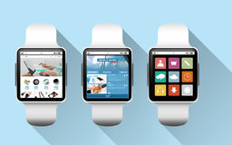 Close up of black smart watches with applications Royalty Free Stock Photography