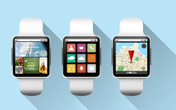 Close up of black smart watches with applications Royalty Free Stock Photo