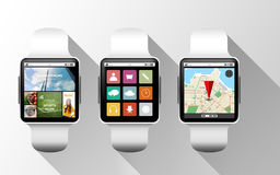 Close up of black smart watches with applications Stock Images