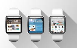 Close up of black smart watches with applications Royalty Free Stock Image