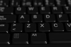 Close-up of black spanish keyboard Royalty Free Stock Photo
