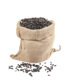 Close up of black sunflower seeds in bag. Stock Image