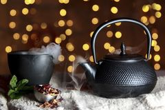Close-up of Black Teapot Royalty Free Stock Photography