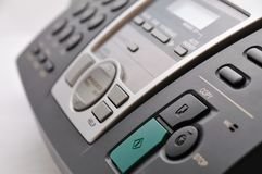 Close up of black telephone fax Stock Images