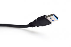 Close-up black USB cable. Isolated on white background Royalty Free Stock Image