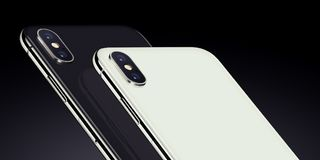 Close up black and white isometric smartphones similar to iPhone X back sides with camera modules cropped. Similar to iPhone X smartphones back side isometric Stock Photos