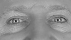 Close-up in black and white on  man's eyes stock video footage