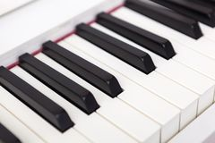 Close up of black and white piano keys. Stock Photo