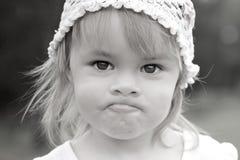 Close up black-white portrait of litle girl Stock Photos