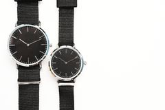 Close up of black wristwatches. For background Royalty Free Stock Photography