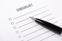 Close up of blank checklist and pen Stock Photography