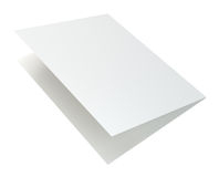 Close up of blank folded leaflet. 3d rendering isolated on white background.  Royalty Free Stock Images