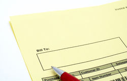 Close up Blank invoice with pen Royalty Free Stock Photos