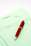 Close up Blank invoice with pen on white background Stock Photos