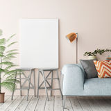 Close up blank poster on the wall of living room. 3D rendering Royalty Free Stock Photos