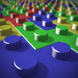 Close-up blocks. Blocks of lego stared on tetris game Stock Photos