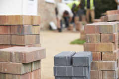 Close Up Of Blocks Waiting To Be Laid On New Patio Stock Photos