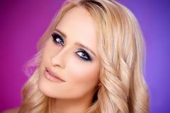 Close up of blond sexy woman Stock Photos