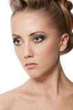 Close up of blond woman with fashion hairstyle Royalty Free Stock Photography