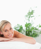 Close up of a blonde smiling woman Stock Photo
