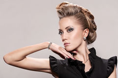 Close up of blonde woman with fashion hairstyle Stock Image