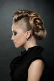 Close up of blonde woman with fashion hairstyle. Blond woman with fashion hairstyle, eyes down Royalty Free Stock Photo
