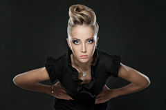 Close up of blonde woman with fashion hairstyle Royalty Free Stock Photography