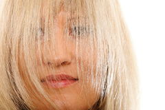 Close up woman with hair covering face. Close up blonde woman with hair covering face  isolated over white background Royalty Free Stock Photo