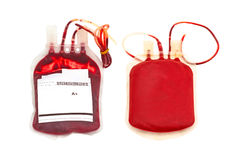 Close up blood and plasma group A and back side  on white Stock Image