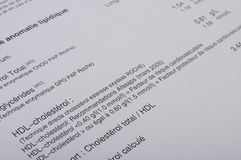 Close up of blood test listing. Details of Blood test listing with figures and french terms Stock Images