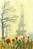 Close-up of blooming tulips in the Trocadero square in Paris royalty free illustration
