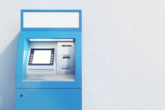 Close up of blue ATM machine. Close up of a blue ATM machine standing near a concrete wall. Concept of monetary operations. 3d rendering. Mock up Royalty Free Stock Photo