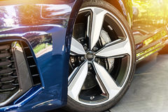 Close up of a blue Audi. TORINO - JUN 10, 2017: Showroom. Close up of a blue Audi  in a showroom Stock Photo