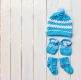 Baby hat gloves sock Stock Image