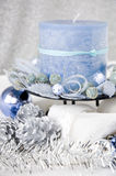 Close up blue candle Royalty Free Stock Photo