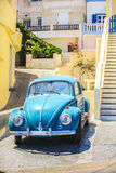 Close-up of blue car in the courtyard of greek Stock Photography