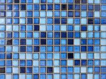 Close up of blue ceramic tiles Royalty Free Stock Photos