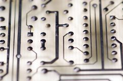 Close up of the blue circuit board Stock Photography