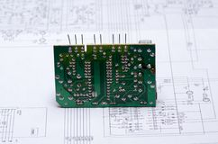 Close up of the blue circuit board Stock Image