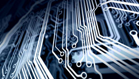 Close up of the blue circuit board Royalty Free Stock Image