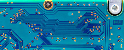 Close up of the blue circuit board Stock Photos